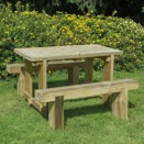 Forest Garden 1.2 m Refectory Table & 2 Sleeper Bench Set