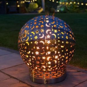 Moon and Stars 600mm Stainless Steel Fire Ball firepit
